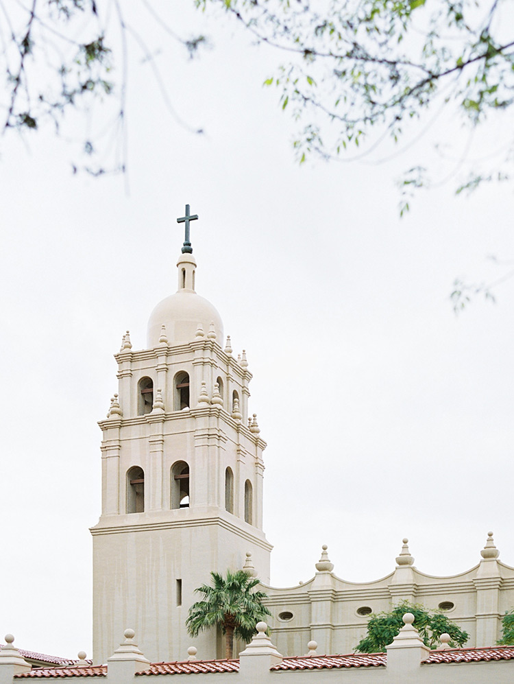 Brophy Chapel on a rainy wedding day