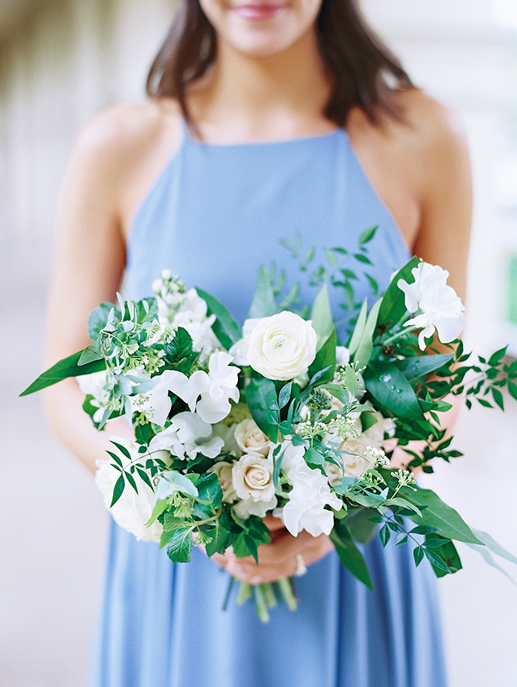 loose white bridesmaid bouquet with beautiful greenery