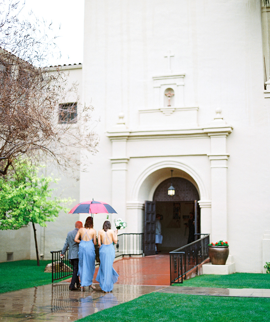 rainy day Brophy Chapel wedding