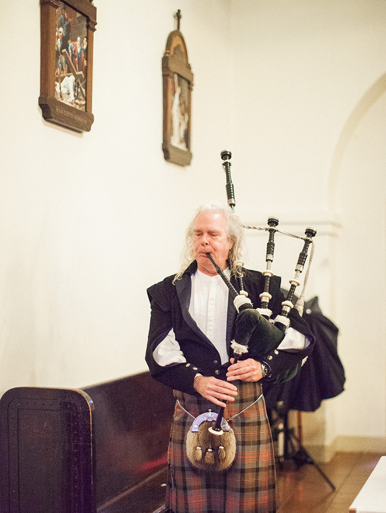bagpipes at Brophy Chapel