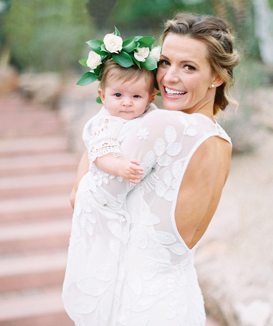 boho bride with her daughter