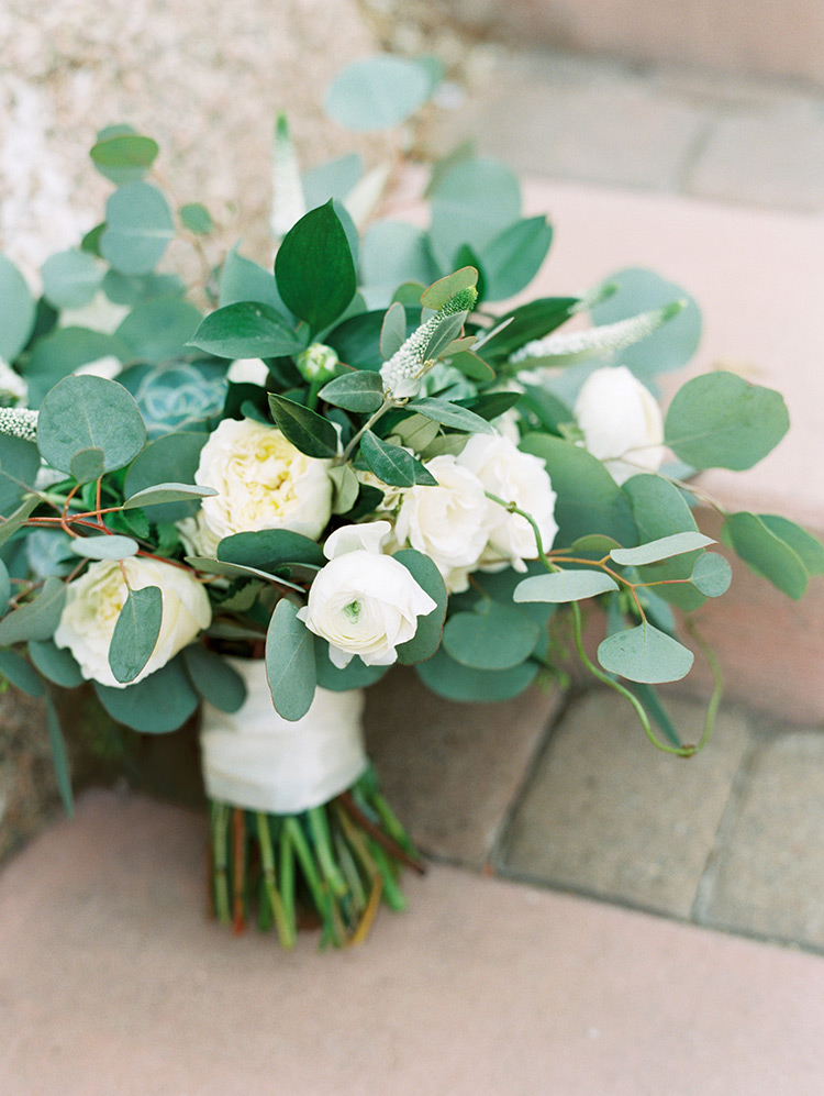 bouquet of greenery & white flowers