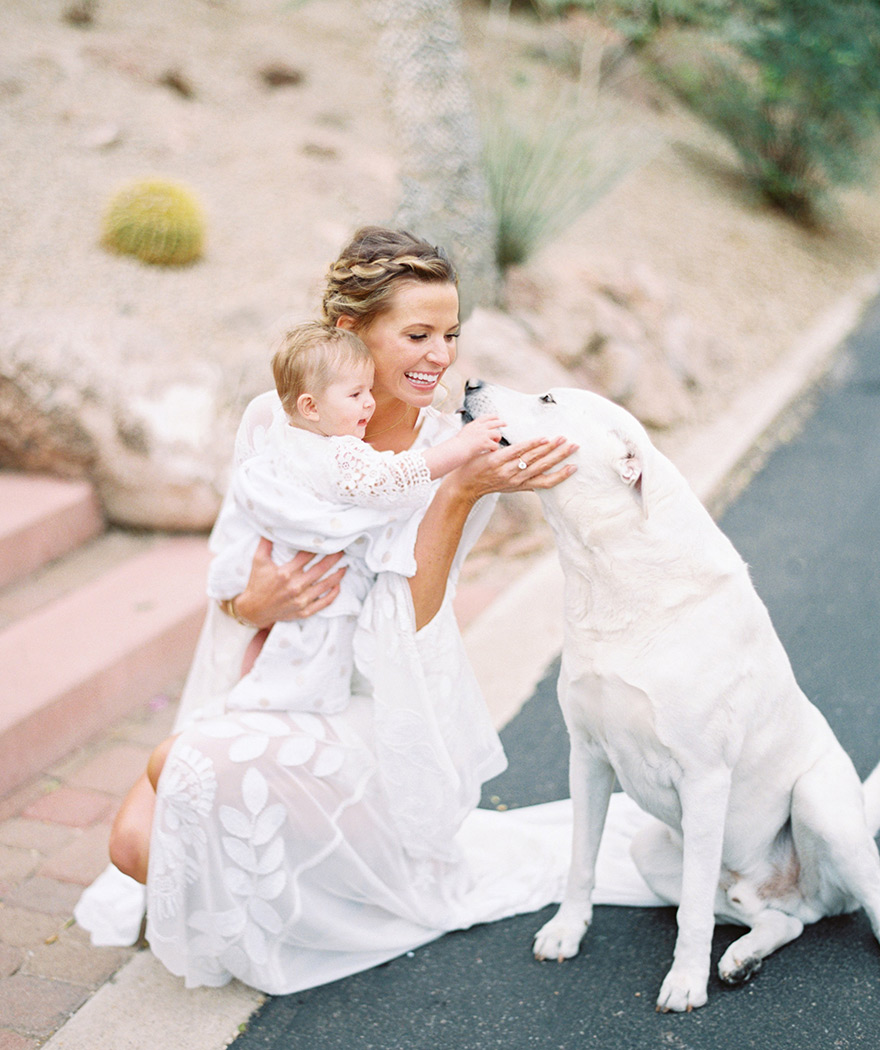 boho bride with her daughter & dog