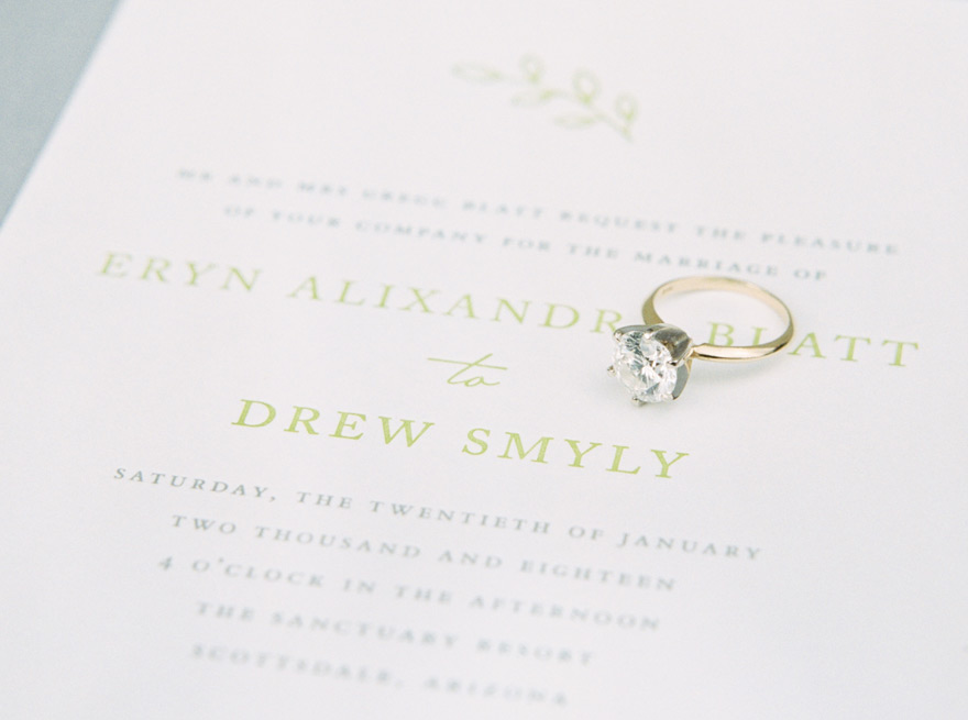 elegant wedding invitation & dazzling ring
