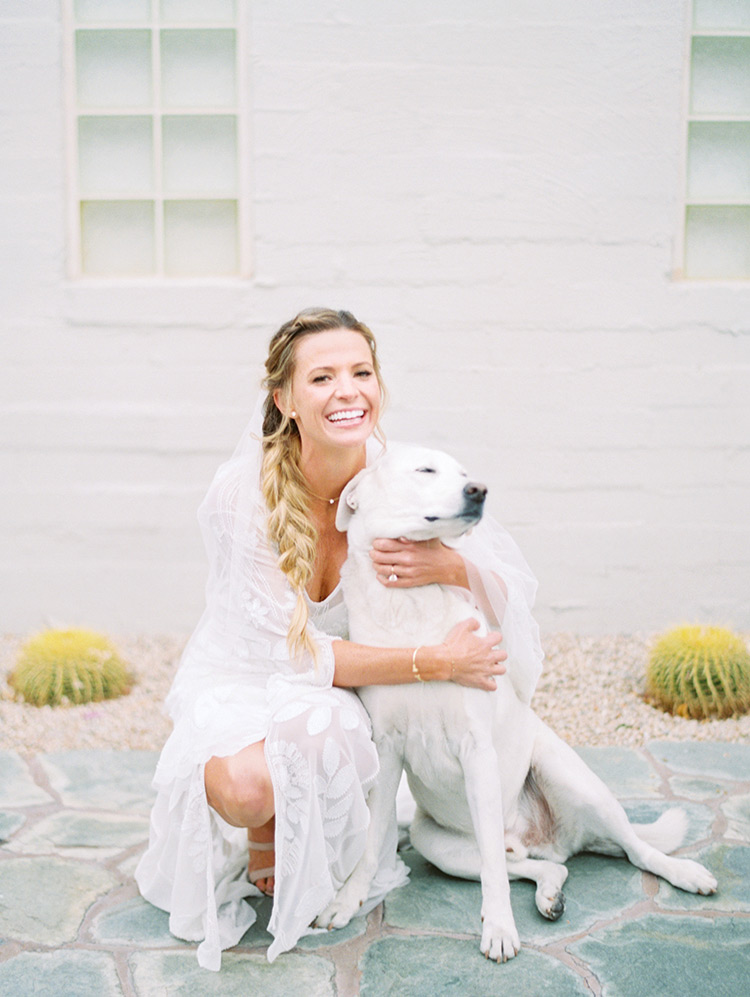 boho bride with her loyal dog