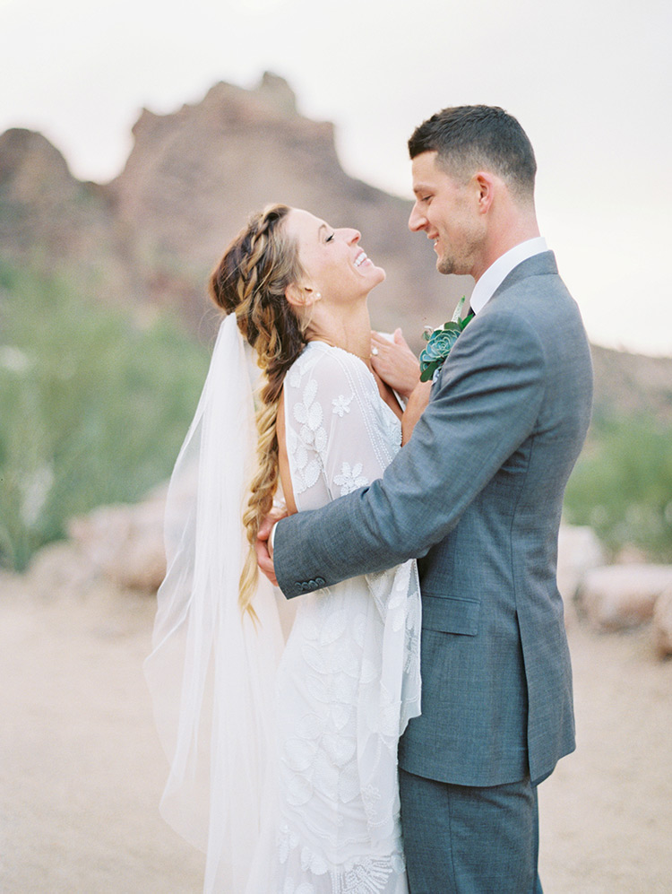 boho bride & groom in grey