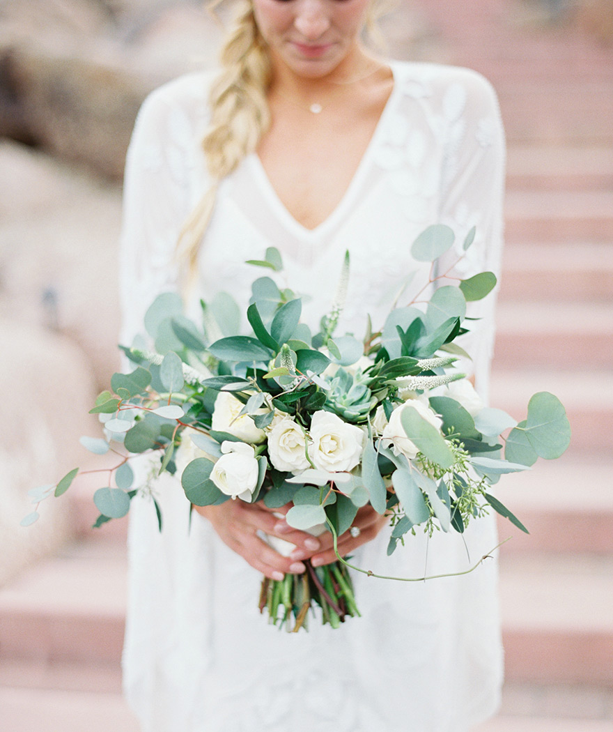 fresh bouquet of greenery & white flowers