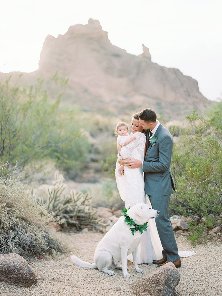 boho bride & groom with their baby & dog