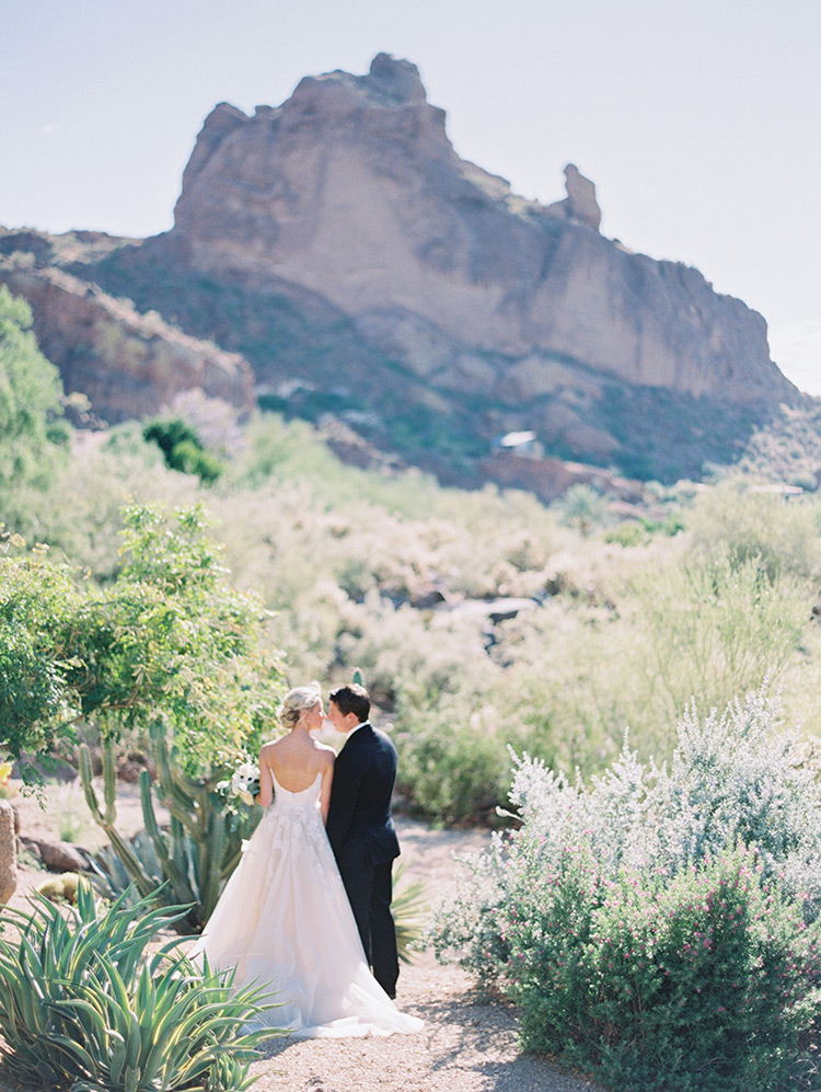 bride & groom in the desert at Sanctuary on Camelback