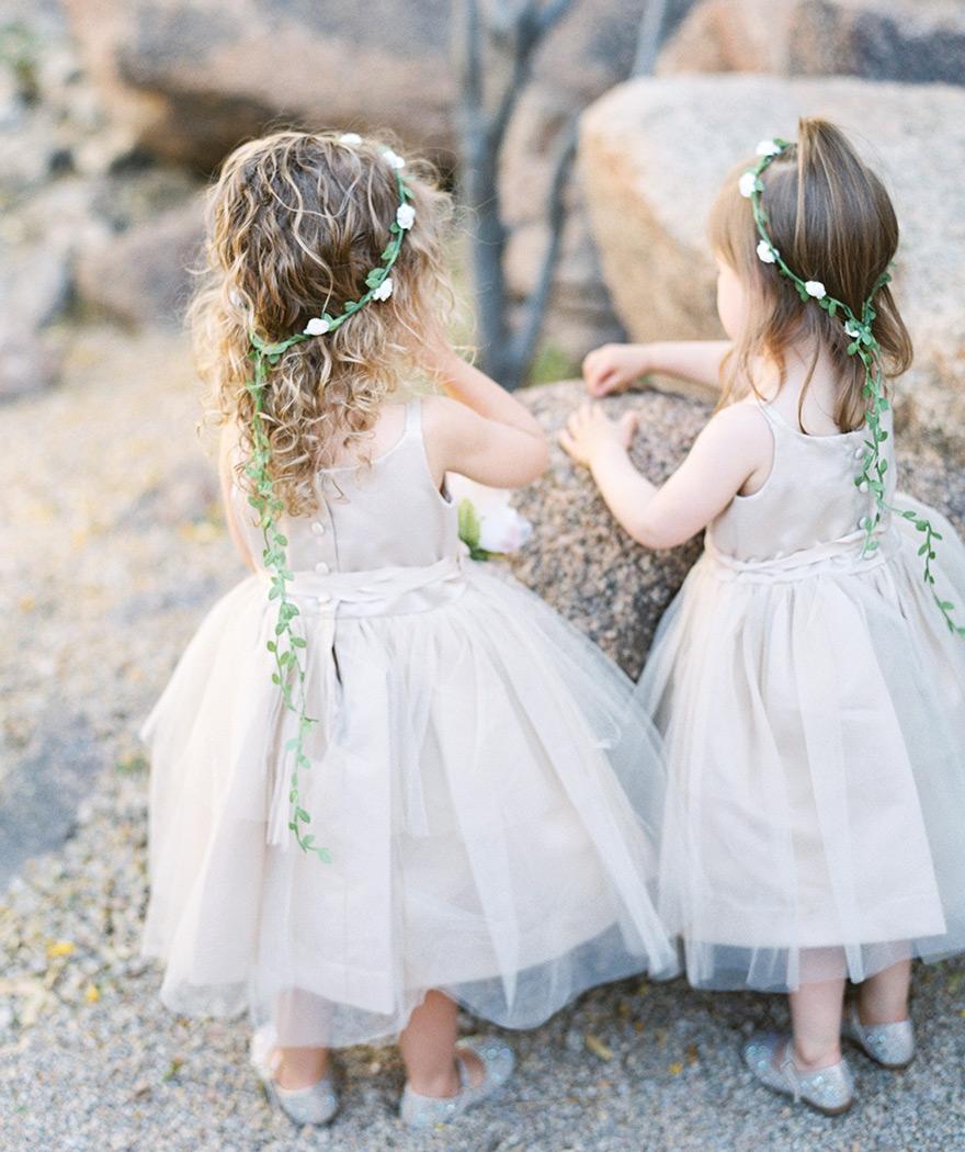 flower girls in satin & tulle