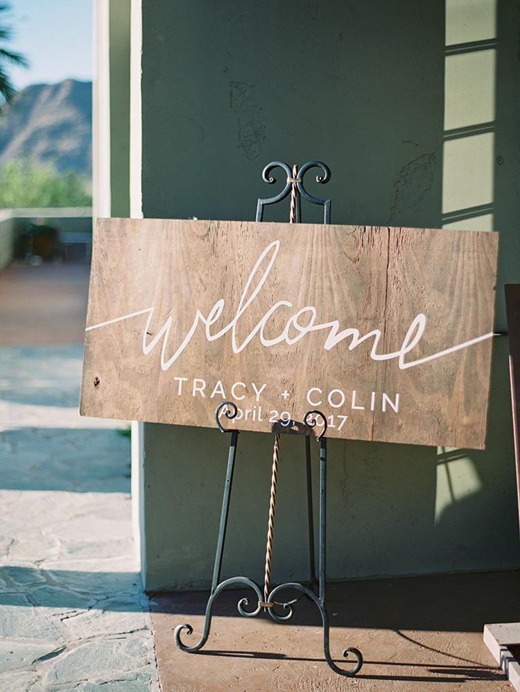 elegant wooden sign at wedding