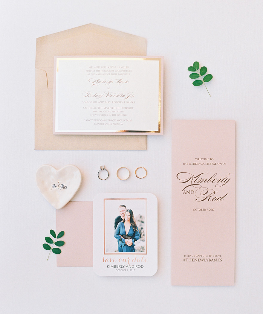 blush invitation suite with gold accents