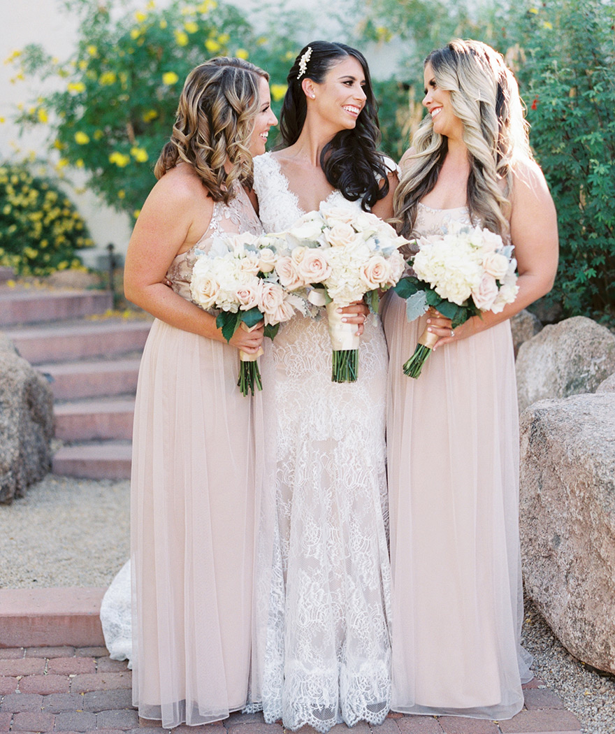 lace wedding dress & blush tulle bridesmaids