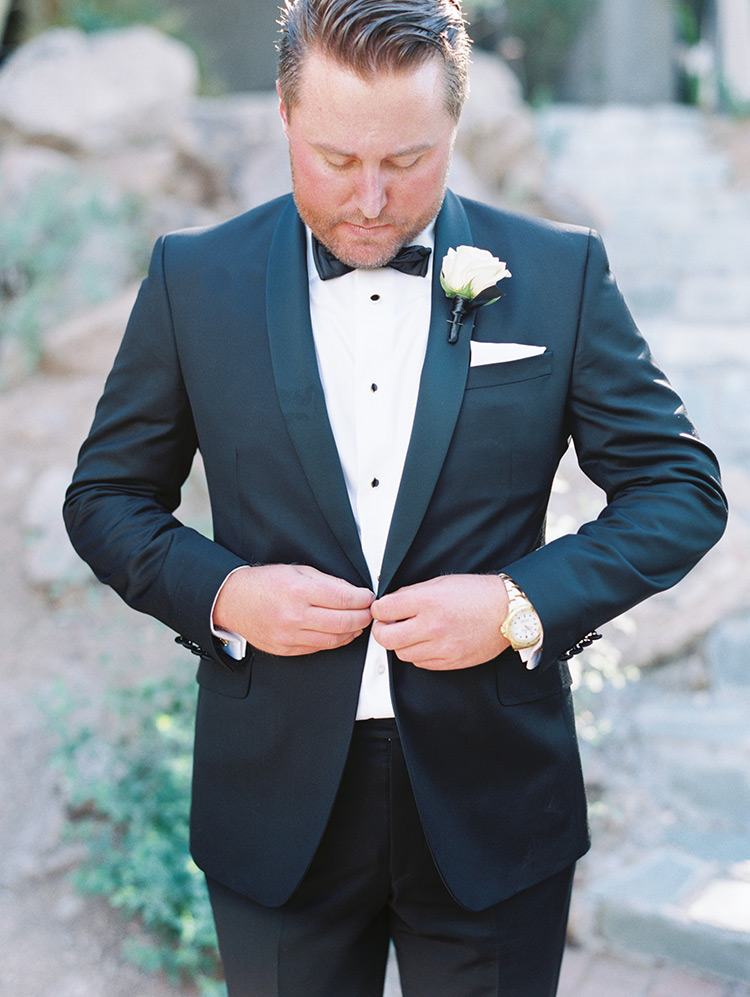 traditional black tux for the groom