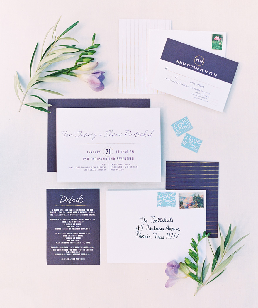 Stylish, modern wedding invitation suite in purple and gold