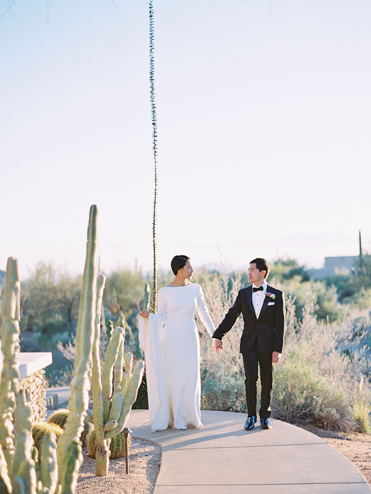 wedding portraits in the Arizona desert, minimalist, long-sleeved wedding dress