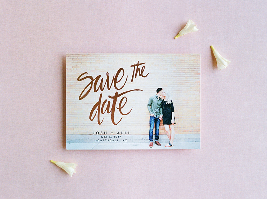 engagement photo and copper foil make a modern save-the-date