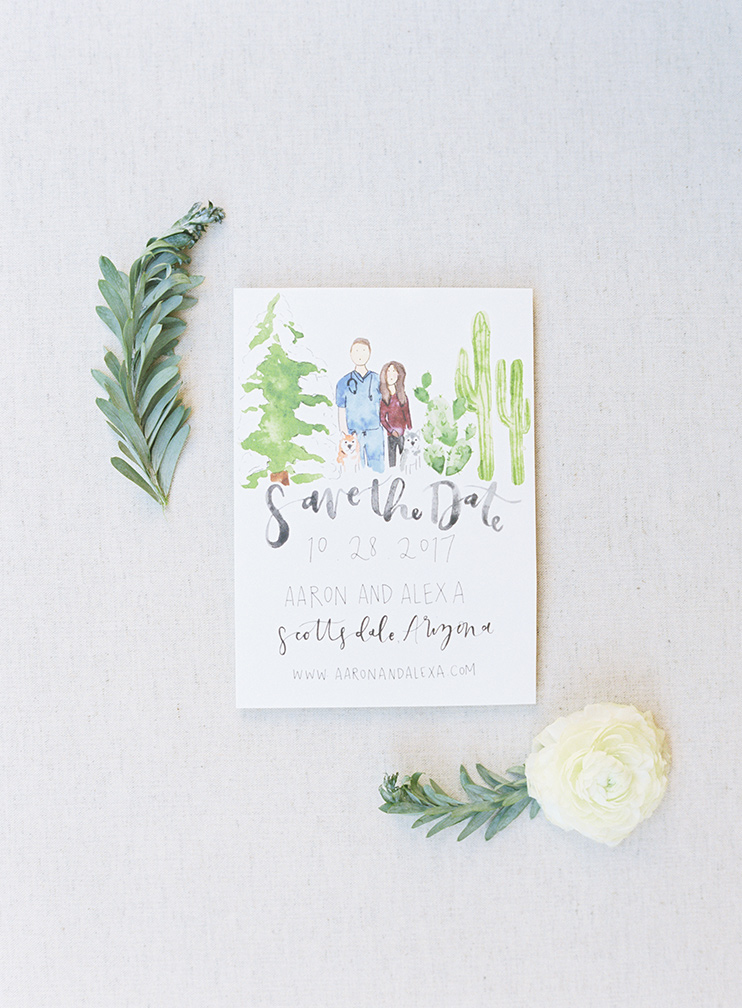 save-the-date with watercolor portrait by Celeste C. Clarke