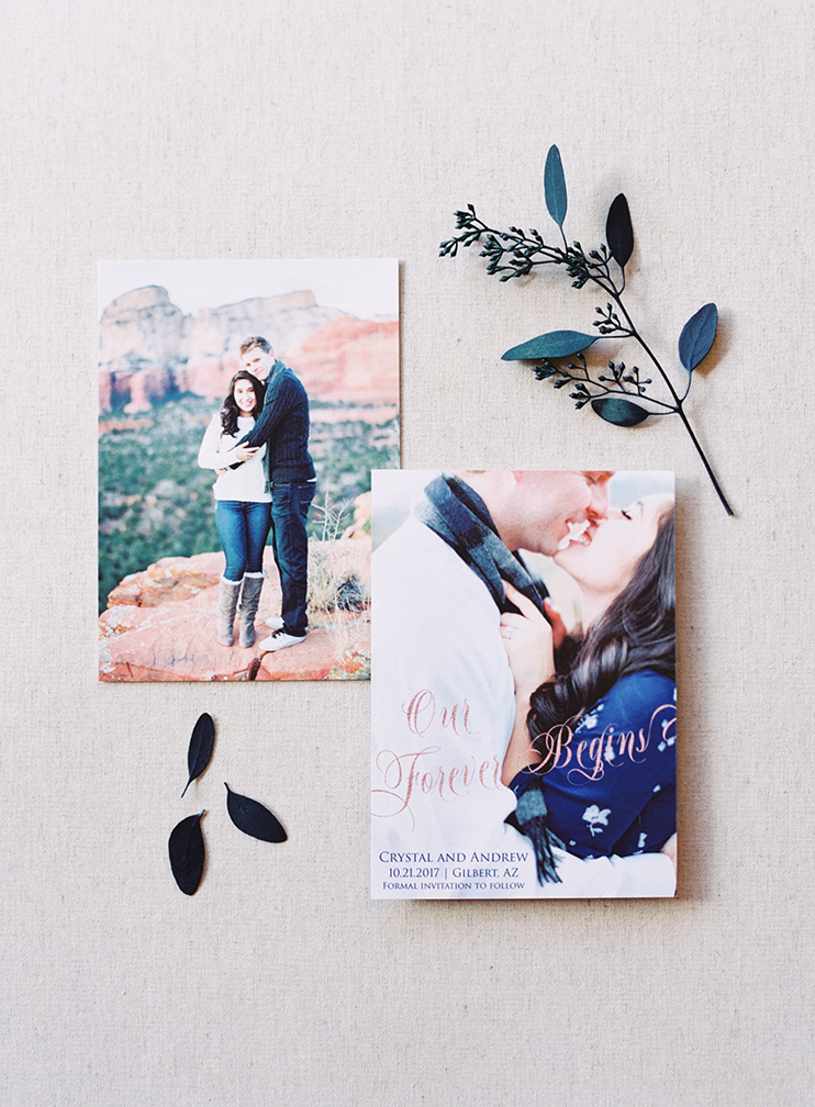 engagement photos on a save-the-date