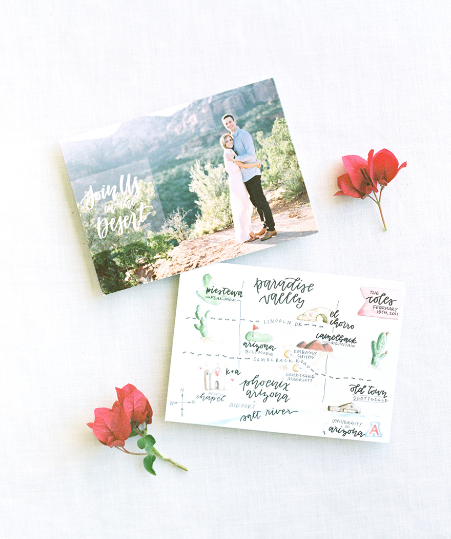 engagement photo and watercolor map by Roots and Rain Creative