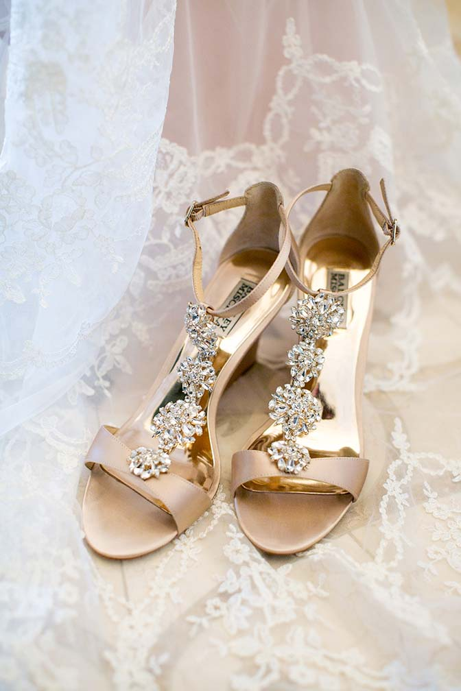 Badgley Mischa bridal shoes embellished with crystals