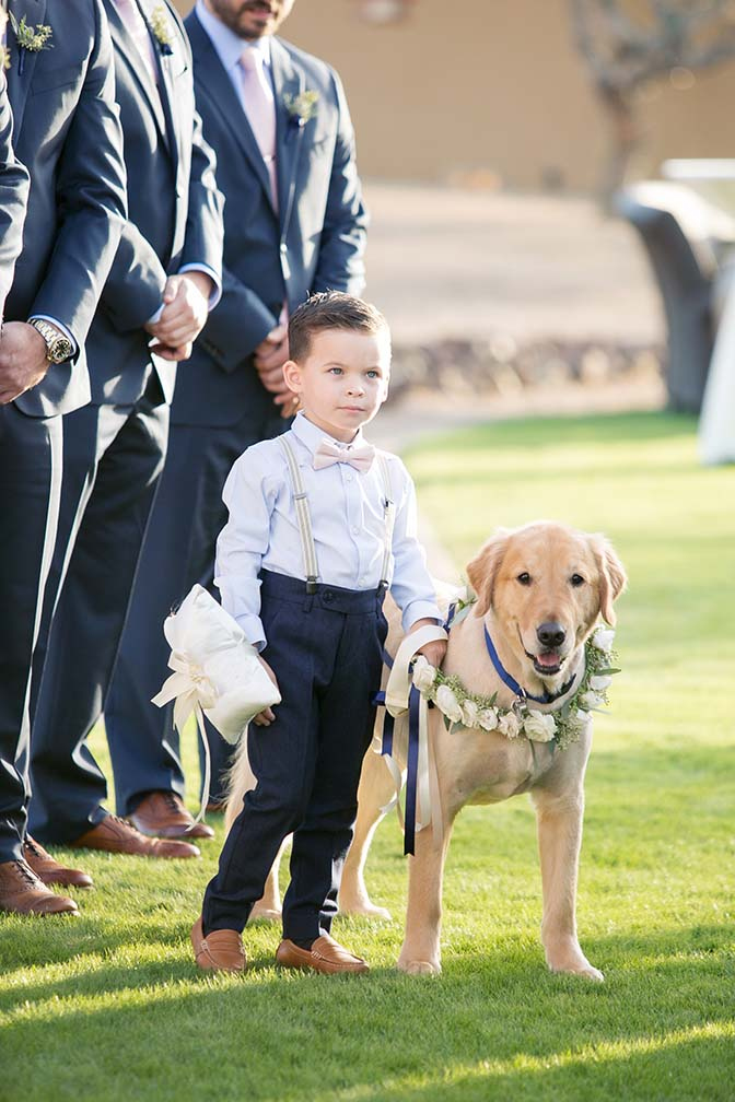 Ring bearer & best dog waiting for the bride