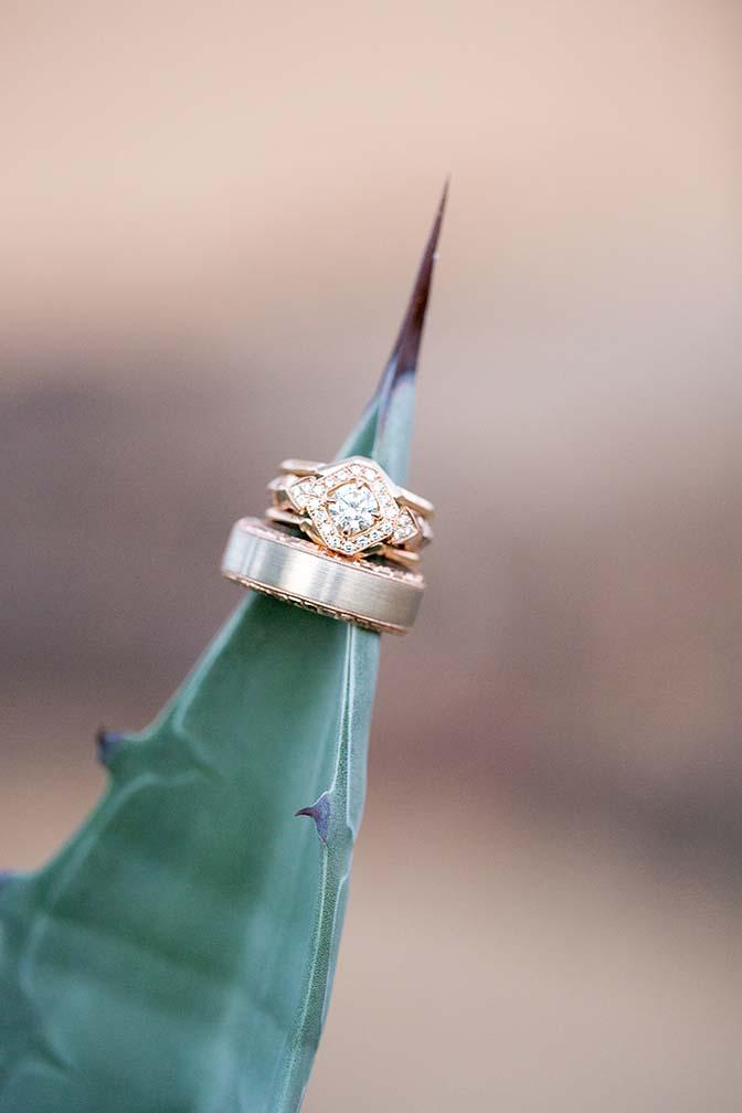 Unique art deco wedding rings in gold
