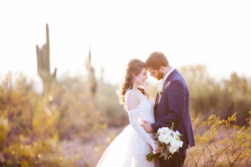 Desert wedding portraits at sunset