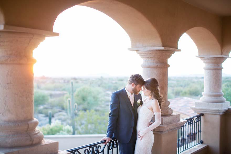 Desert wedding portraits at sunset