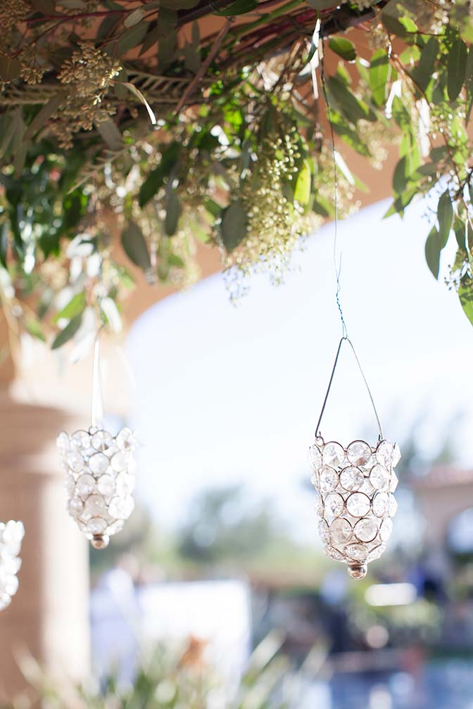 Hanging crystal candle holders, outdoor wedding reception