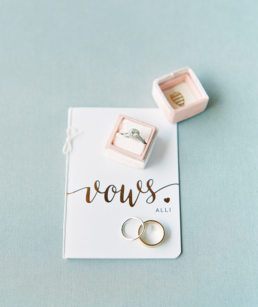 dazzling engagement ring with vows for the wedding