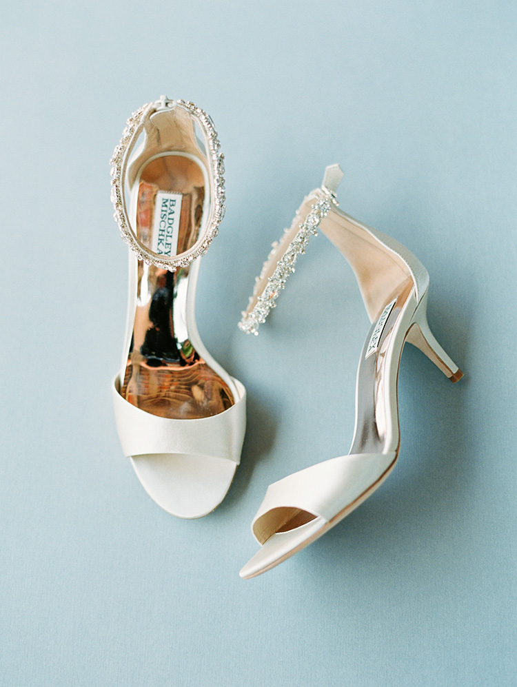 Badgley Mischa wedding shoes with jeweled straps
