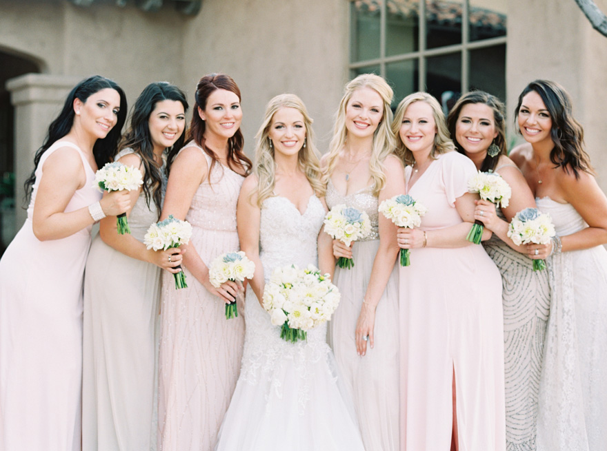 mismatched bridesmaids in sparkling neutrals and pinks