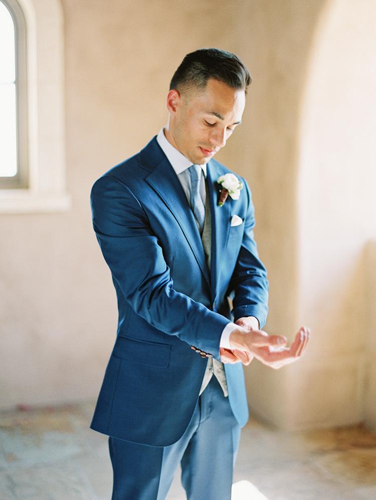 blue three-piece suit