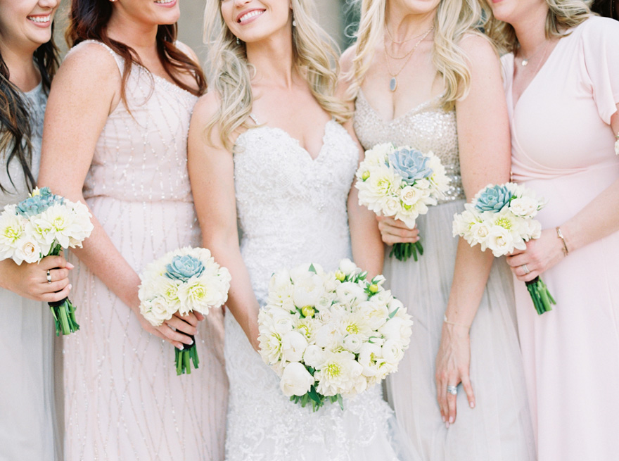 mismatched bridesmaids in sparkling neutrals & pinks