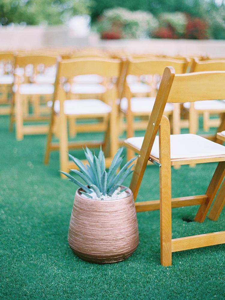 succulent in a metallic pot, outdoor wedding ceremony