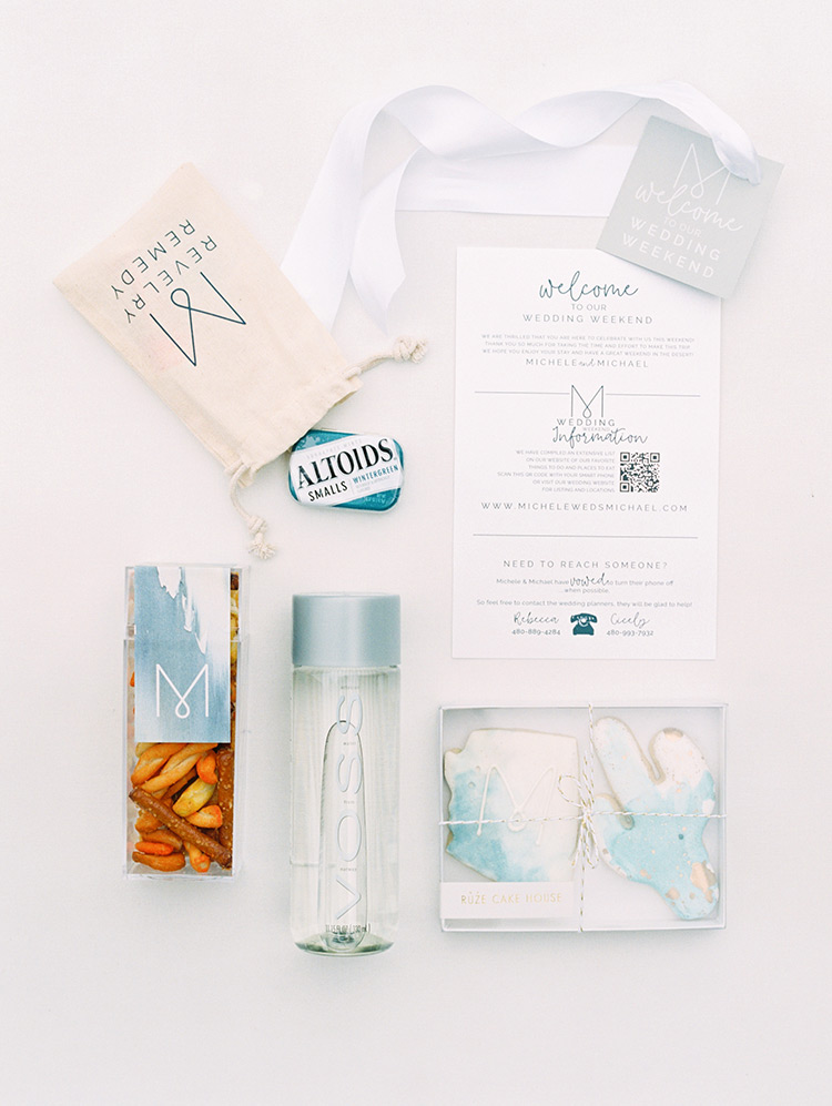 monogrammed gifts in a wedding welcome bag