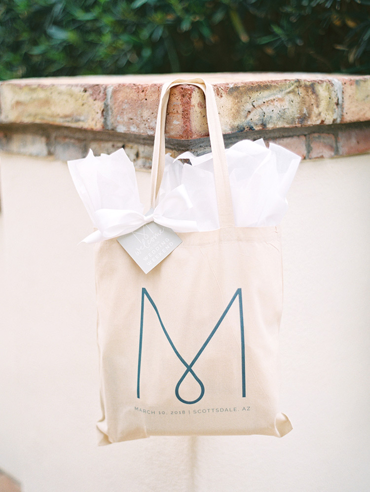 monogrammed wedding welcome bag