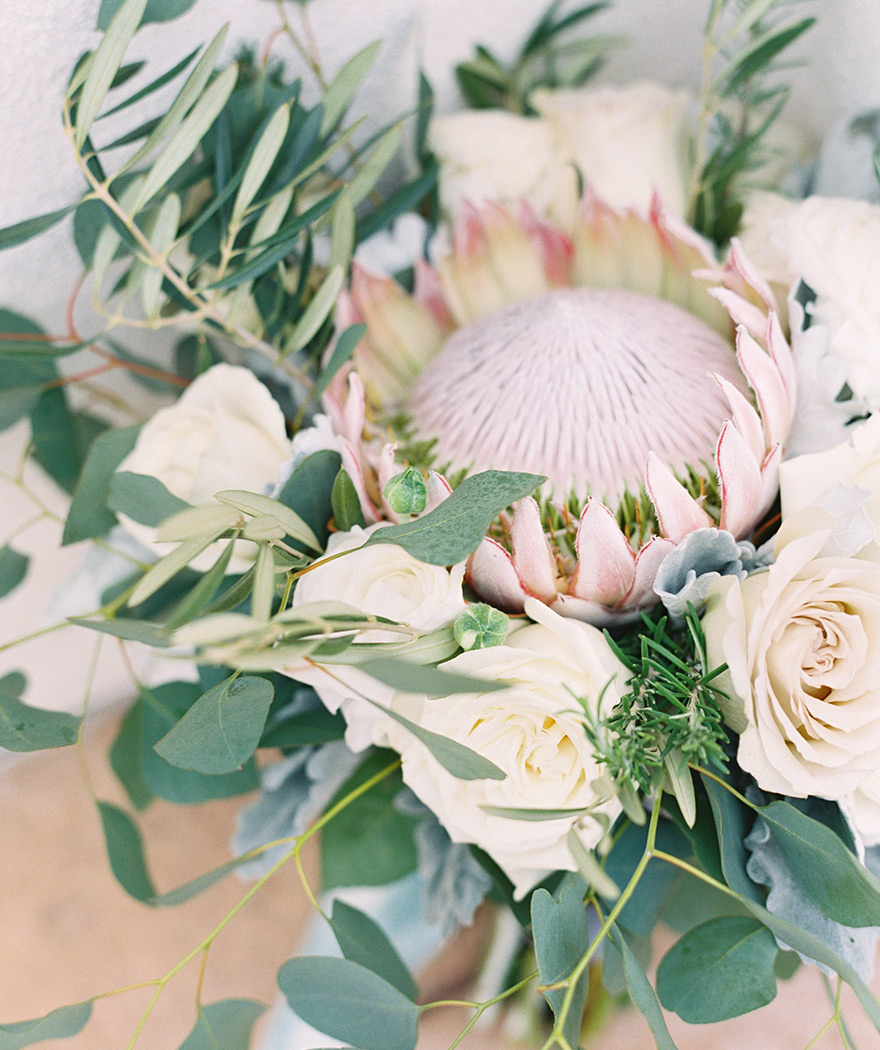 bouquet with giant protea