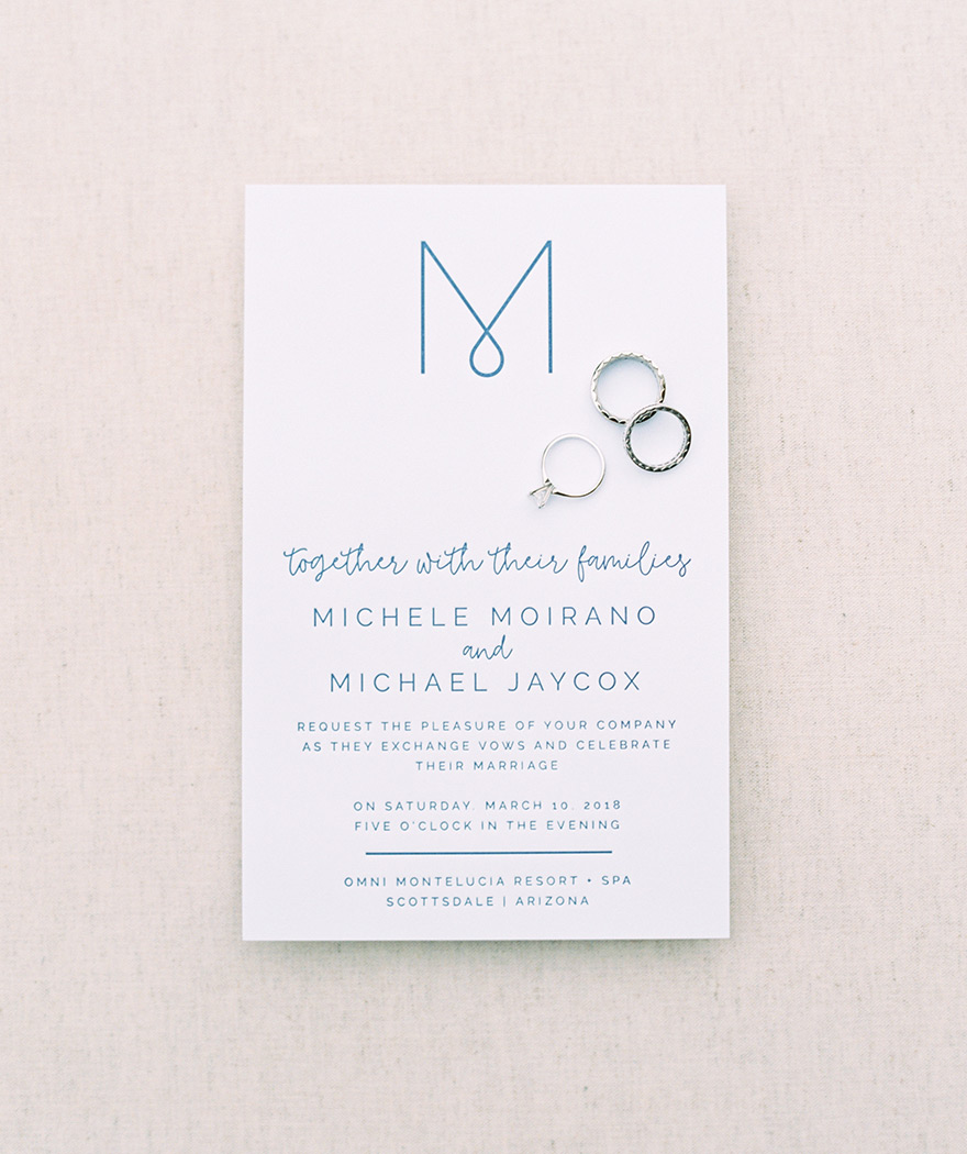 modern, monogrammed wedding invitation