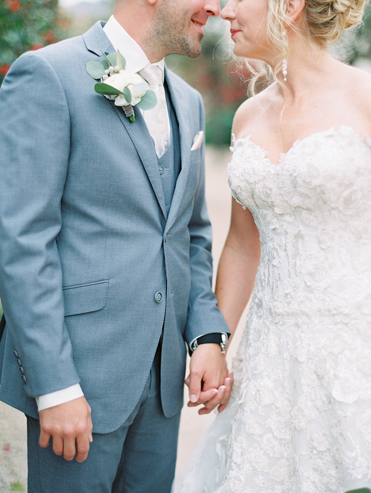 lace & tulle gown and grey three piece suit