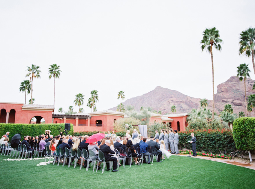 outdoor wedding ceremony on a rainy day