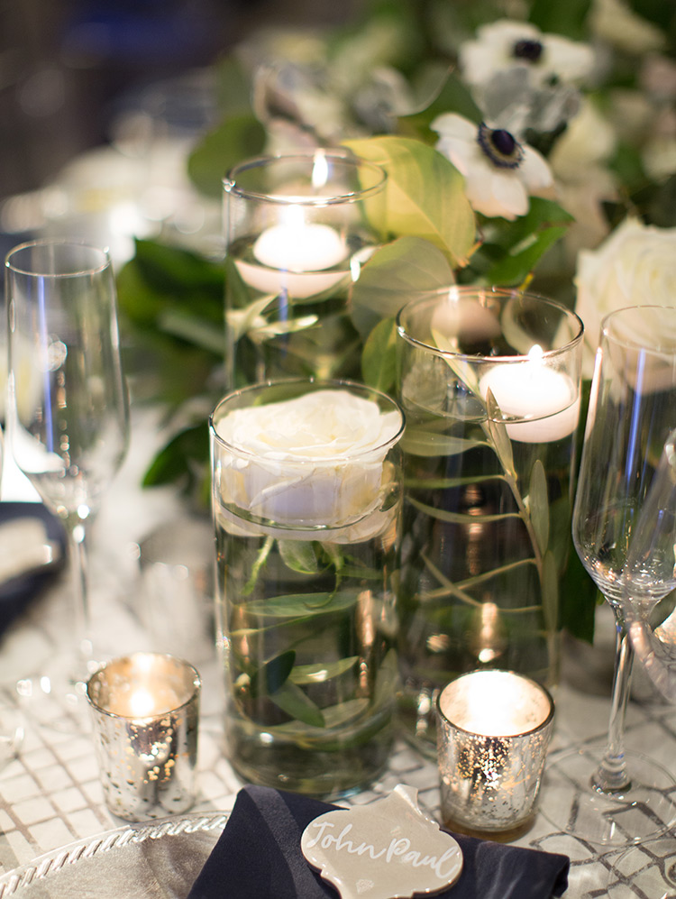 elegant candlelit wedding reception