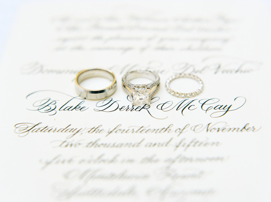 Bride and groom's ring lay flat on wedding invitation.