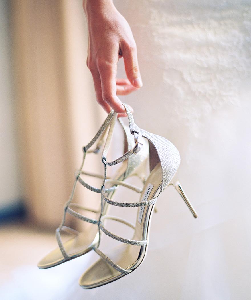 Strappy, silver bridal heels.
