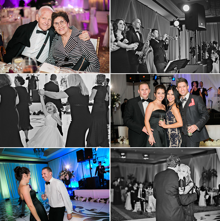 Guests of bride and groom dance happily during reception. Band plays instruments during evening.