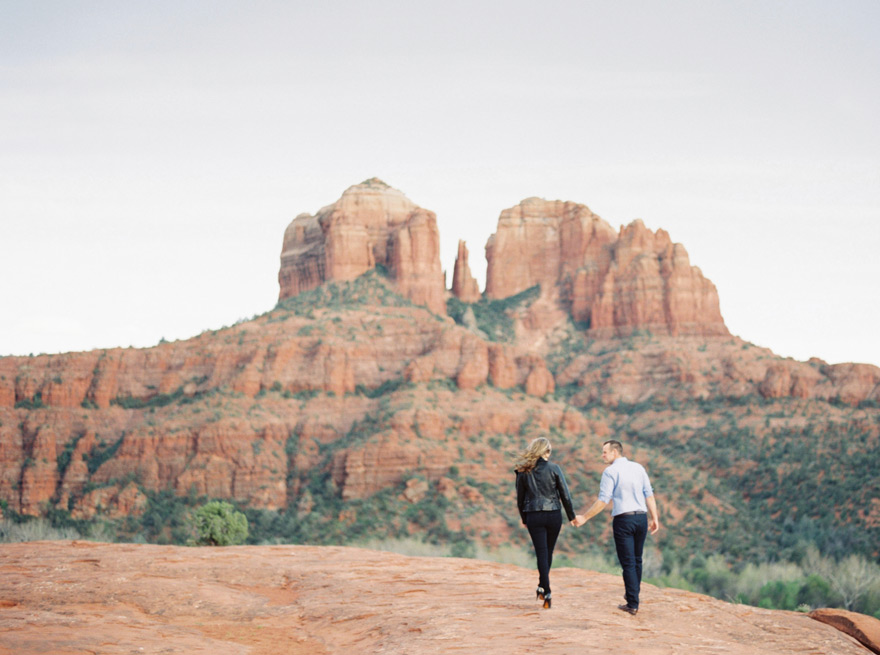 Sedona engagement shoot with Cathedral Rock in the background