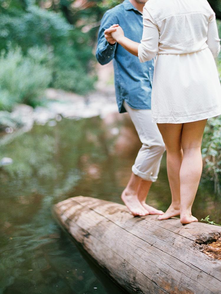 barefoot engagement photos at Oak Creek Canyon