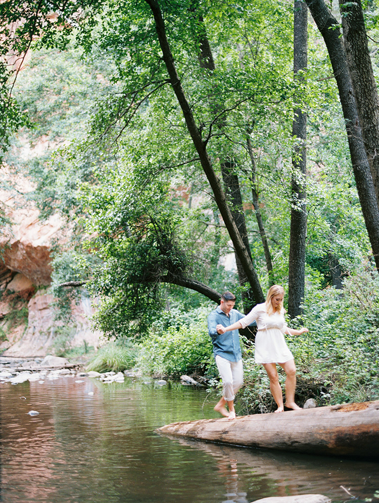 barefoot engagement photos at Oak Creek Canyon