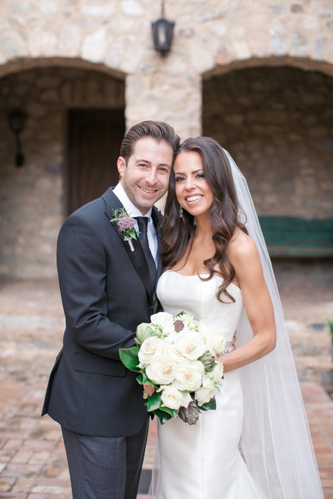 Smiling bride & groom on their wedding day. Silverleaf